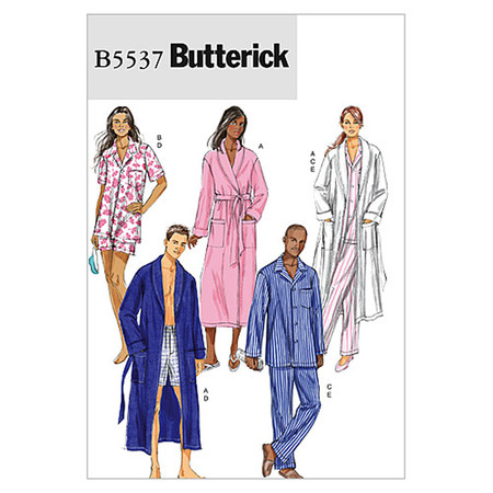 Butterick Misses'/Men's Robe Belt Top Shorts and Pants Pattern B5537 Size XM0