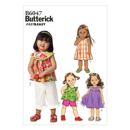 Butterick Toddlers' Top Dress Shorts and Pants Pattern B6047 Size CCB