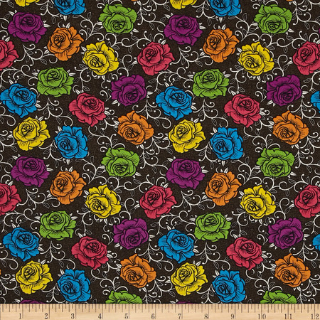 Calavera Rosas Prismaticas Black/Multi Fabric