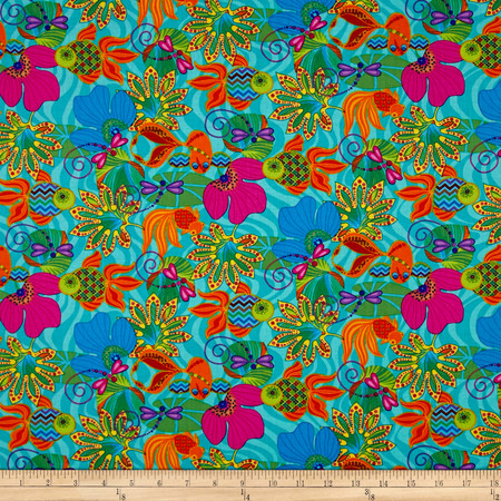 Calypso Goldfish Embellished Goldfish Multi Fabric By The Yard