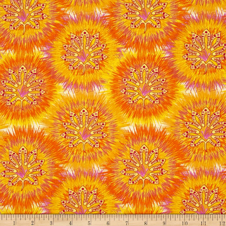 Calypso Goldfish Tie Dye Circles  Orange/Yellow Fabric By The Yard