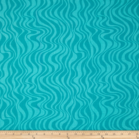 Calypso Goldfish Waves Teal Fabric By The Yard