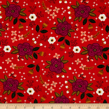Camelot Enchanted Floral Red-Orange Fabric By The Yard