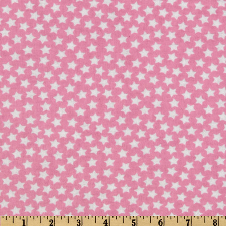 Camelot Flannel Stars Pink Fabric