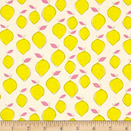Camelot Pink Lemonade Citrus Splash Lemon White Fabric By The Yard