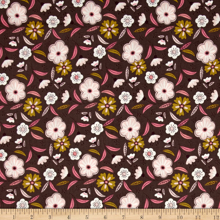 Captivate Floral Dark Taupe Fabric By The Yard