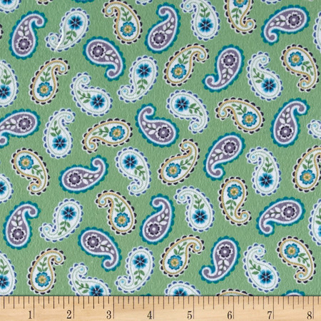 Catalina Flannel Paisley Green Fabric