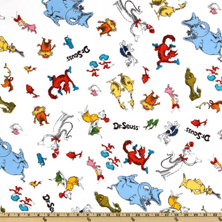 Celebrate Seuss! Flannel Tossed Characters White Fabric
