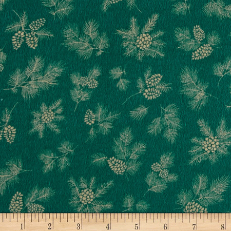 Chalk it up to Winter Flannel Pine Cones Green Fabric