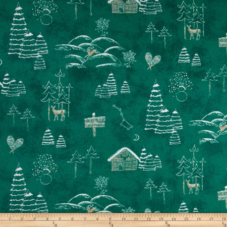 Chalk it up to Winter Flannel Scenic Green Fabric