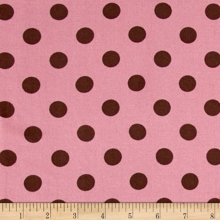 Challis Twill Print Polka Dots Brown/Dusty Rose Fabric By The Yard