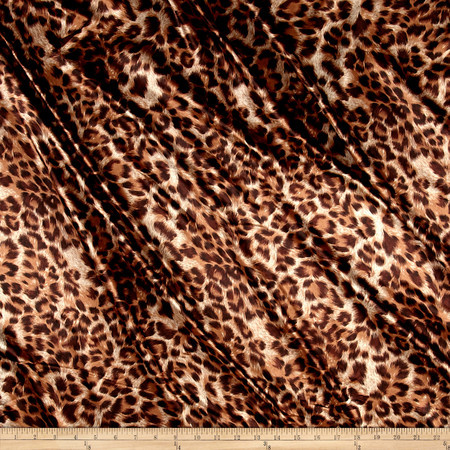 Charmeuse Satin Leopard Brown Fabric By The Yard
