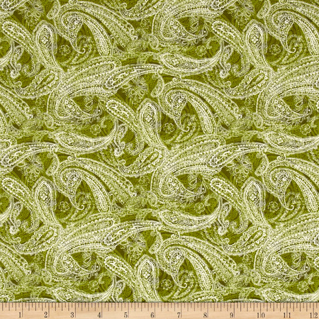 Chelsea Paisley Dark Green Fabric By The Yard