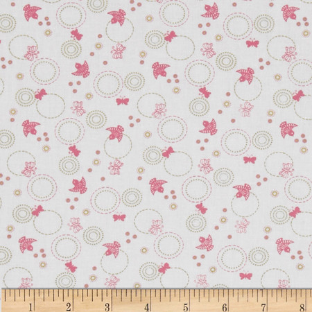 Cherry Blossom Festival Butterfly & Birds White/Pink Fabric