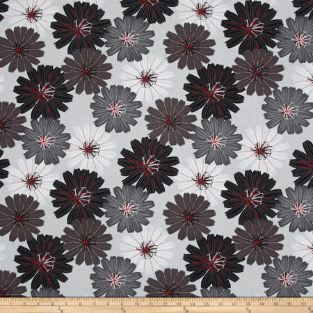 Cherry Pop Packed Dahlias Light Gray Fabric By The Yard