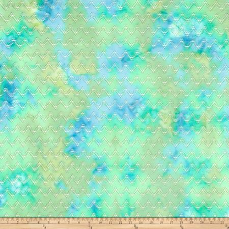 Chevron Spandex Crochet Lace Knit Green/Yellow Fabric By The Yard