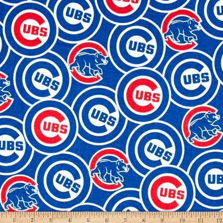 Chicago Cubs Cotton Broadcloth Blue Fabric By The Yard
