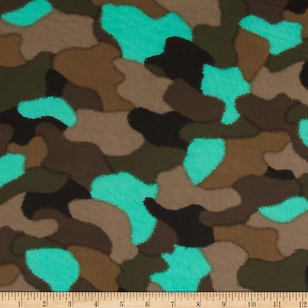 Chiffon Camo Green/Turquoise/Tan/Black Fabric
