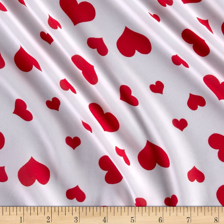 Chiffon Hi-Multi Print Hearts Red Fabric By The Yard