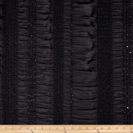 Chiffon Sequin Rouched Sheer Black Fabric