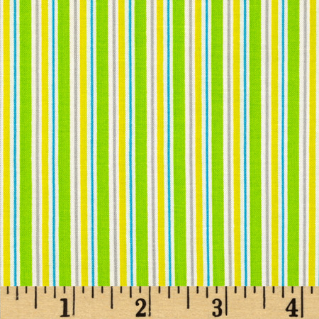 Child's Play Stripe Green/Yellow Fabric By The Yard