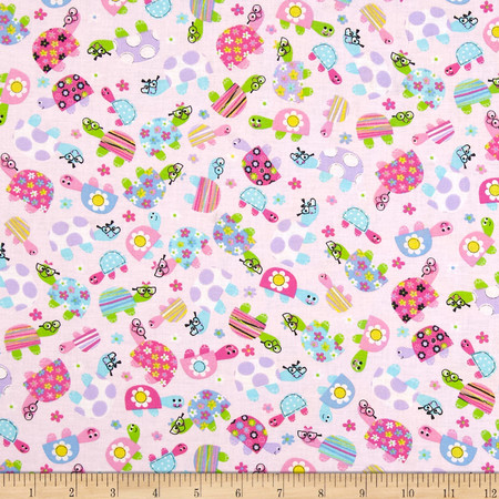 Child's Play Turtles Pink Fabric By The Yard