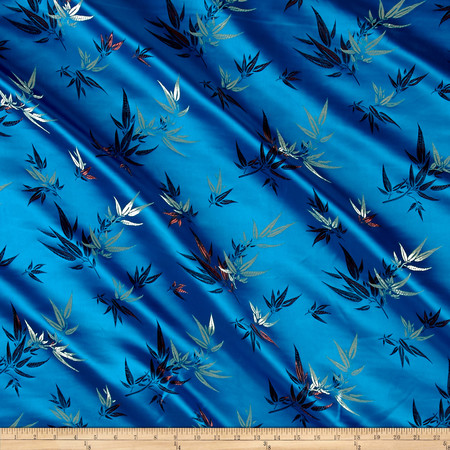 Chinese Brocade Sateen Bamboo Turquoise Fabric By The Yard