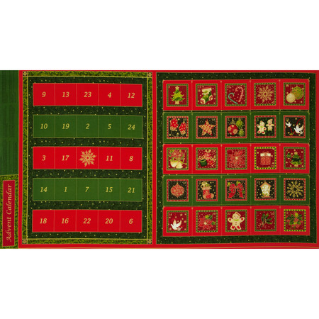 Christmas 2015 Advent Calendar Panel Multi Fabric By The Yard