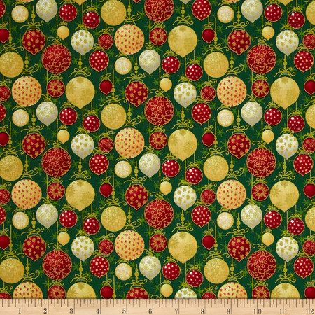 Christmas 2015 Christmas Balls Green Fabric