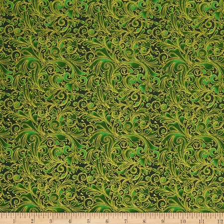 Christmas 2015 Large Swirl Green Fabric