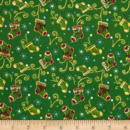 Christmas 2015 Stockings Green Fabric