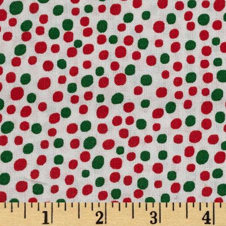 Christmas Basics Dot Green Fabric By The Yard