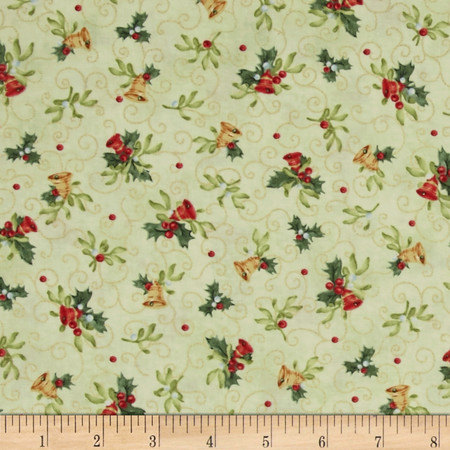 Christmas Bells Metallics Tossed Bells Light Green Fabric By The Yard