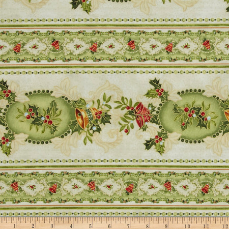 Christmas Bells Metallics Wide Stripe Multi Fabric By The Yard