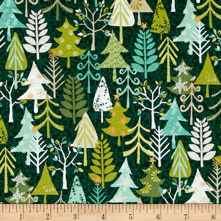Christmas Cool Yule Trees Green Fabric