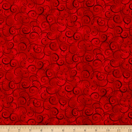 Christmas Dreams Scroll Red Fabric By The Yard