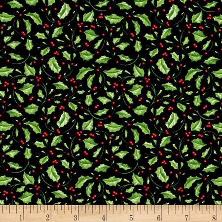Christmas Elegance Holly Leaves Black Fabric By The Yard