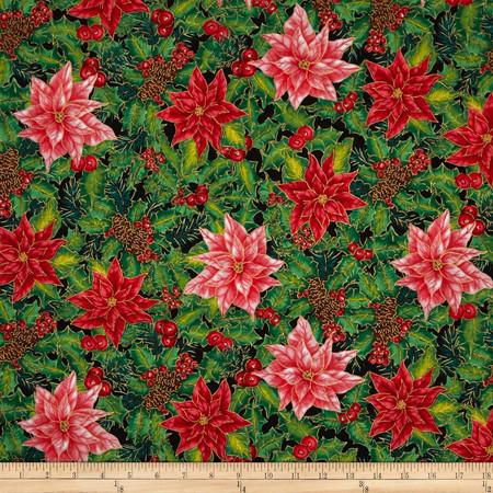 Christmas Morning Allover Metallic Poinsettias Multi Fabric