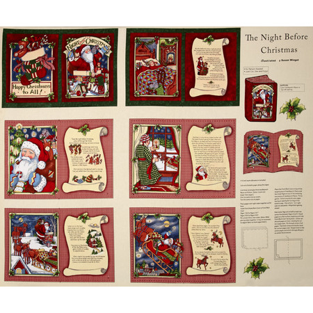 Christmas Night Before Christmas Soft Book 32 In. Panel Multi Fabric