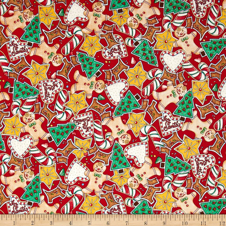 Christmas Packed Gingerbread Cookies Red Fabric