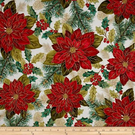 Christmas Splendor Poinsettia Cream Fabric