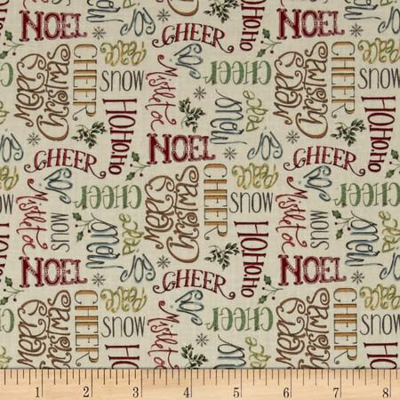 Christmas Whimsy Seasons Greetings Multi Fabric