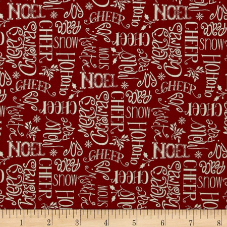 Christmas Whimsy Seasons Greetings Red Fabric