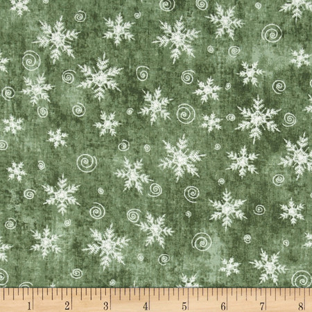 Christmas Whimsy Snowflakes Grey Fabric