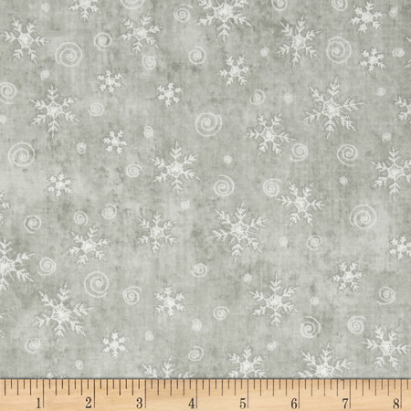 Christmas Whimsy Snowflakes Light Grey Fabric