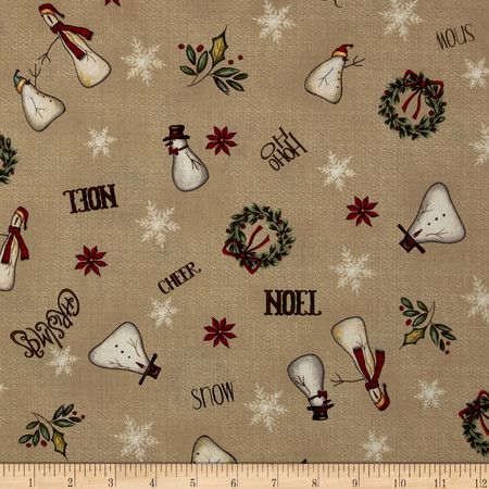 Christmas Whimsy Snowman Toss Beige Fabric