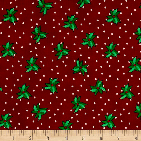 Christmas Wishes Bits Of Holly Holiday Red Fabric By The Yard