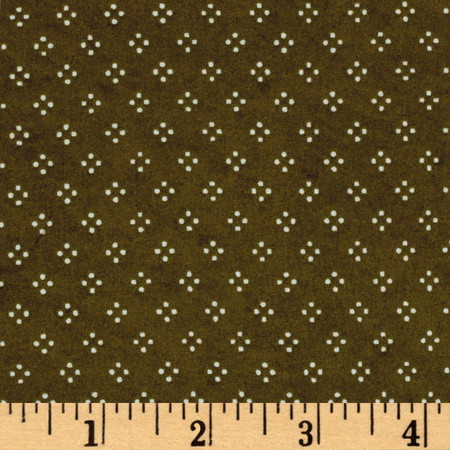 Christmas Wishes Dot Dark Olive Fabric By The Yard