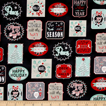 Christmas Wishes Holiday Work Labels Black Fabric By The Yard