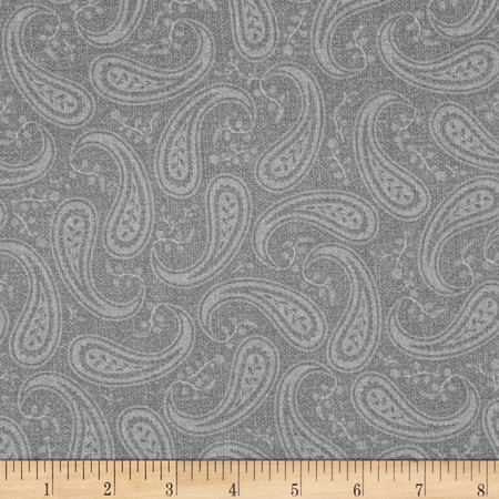 Christmas Wishes Paisley Grey Fabric By The Yard